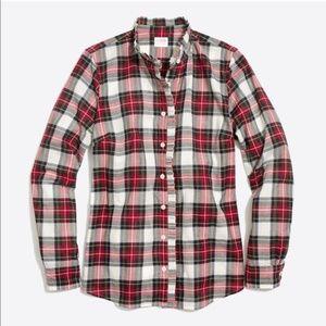 J. Crew Ruffle-front Plaid Button Down Shirt XL